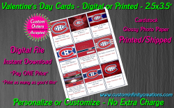 Montreal Canadiens Digital or Printed Valentines Day Cards 2.5x3.5 Sheet #2