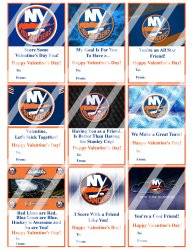 New York Islanders Valentines Day Cards Sheet #1 (instant download or printed)