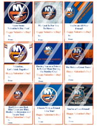 New York Islanders Valentines Day Cards Sheet #2 (instant download or printed)