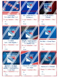 New York Rangers Valentines Day Cards Sheet #2 (instant download or printed)