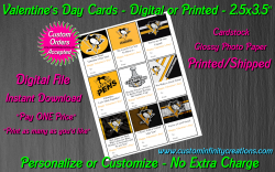 Pittsburgh Penguins Digital or Printed Valentines Day Cards 2.5x3.5 Sheet #1