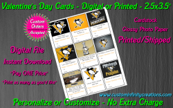 Pittsburgh Penguins Digital or Printed Valentines Day Cards 2.5x3.5 Sheet #2