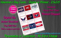 Washington Capitals Digital or Printed Valentines Day Cards 2.5x3.5 Sheet #2