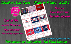 Washington Capitals Digital or Printed Valentines Day Cards 2.5x3.5 Sheet #3