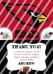Arizona Cardinals Personalized Thank You Card #2 (digital file you print)
