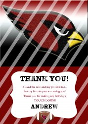 Arizona Cardinals Personalized Thank You Card #10 (digital file you print)