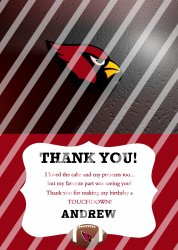 Arizona Cardinals Personalized Thank You Card #11 (digital file you print)