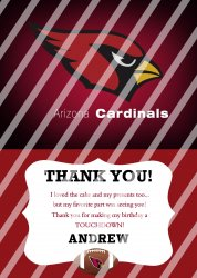 Arizona Cardinals Personalized Thank You Card #14 (digital file you print)