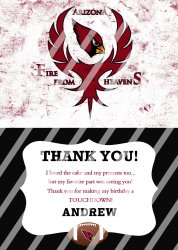 Arizona Cardinals Personalized Thank You Card #15 (digital file you print)