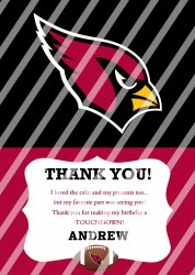 Arizona Cardinals Personalized Thank You Card #16 (digital file you print)