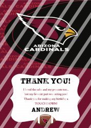 Arizona Cardinals Personalized Thank You Card #21 (digital file you print)