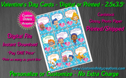 Bubble Guppies Digital or Printed Valentines Day Cards 2.5x3.5 Sheet #1