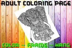 Elephant Adult Coloring Page Sheet #1 (digital or shipped)