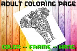 Elephant Adult Coloring Page Sheet #2 (digital or shipped)