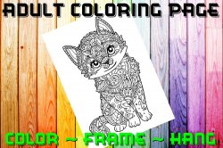 Cat Adult Coloring Page Sheet #1 (digital or shipped)