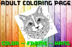 Cat Adult Coloring Page Sheet #2 (digital or shipped)