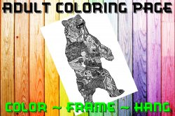 Bear Adult Coloring Page Sheet #1 (instant download or printed)