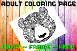 Bear Adult Coloring Page Sheet #3 (instant download or printed)