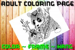 Bear Adult Coloring Page Sheet #4 (instant download or printed)