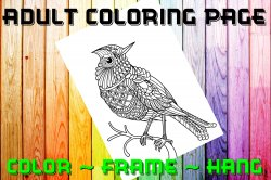 Bird Adult Coloring Page Sheet #1 (digital or shipped)