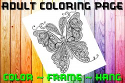 Butterfly Adult Coloring Page Sheet #1 (digital or shipped)