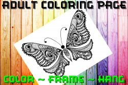 Butterfly Adult Coloring Page Sheet #2 (digital or shipped)