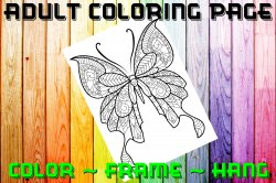 Butterfly Adult Coloring Page Sheet #11 (digital or shipped)