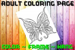 Butterfly Adult Coloring Page Sheet #12 (digital or shipped)