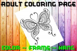 Butterfly Adult Coloring Page Sheet #13 (digital or shipped)