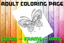 Butterfly Adult Coloring Page Sheet #14 (digital or shipped)