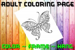Butterfly Adult Coloring Page Sheet #15 (digital or shipped)