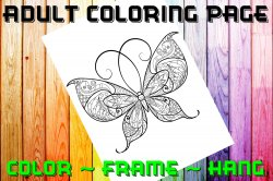 Butterfly Adult Coloring Page Sheet #16 (digital or shipped)