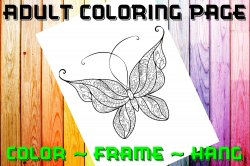 Butterfly Adult Coloring Page Sheet #17 (digital or shipped)