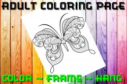 Butterfly Adult Coloring Page Sheet #18 (digital or shipped)