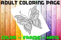 Butterfly Adult Coloring Page Sheet #19 (digital or shipped)