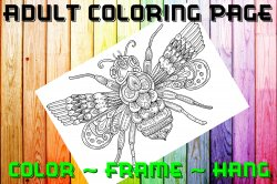 Bee Adult Coloring Page Sheet #1 (instant download or printed)