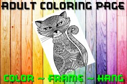 Cat Adult Coloring Page Sheet #3 (digital or shipped)
