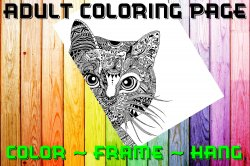 Cat Adult Coloring Page Sheet #4 (digital or shipped)