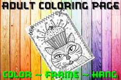 Cat Adult Coloring Page Sheet #10 (digital or shipped)