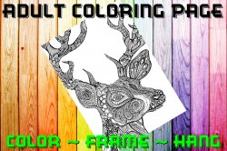 Deer Adult Coloring Page Sheet #1 (digital or shipped)