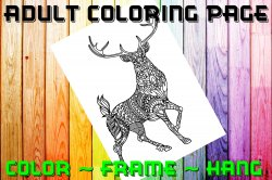 Deer Adult Coloring Page Sheet #2 (digital or shipped)