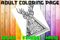 Deer Adult Coloring Page Sheet #4 (digital or shipped)