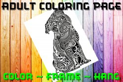 Dog Pug Adult Coloring Page Sheet #1 (digital or shipped)