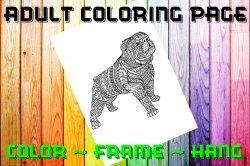 Dog Bulldog Adult Coloring Page Sheet #2 (digital or shipped)