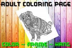 Dog Bulldog Adult Coloring Page Sheet #3 (digital or shipped)