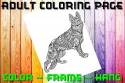 Dog German Shepherd Adult Coloring Page Sheet #4 (digital or shipped)