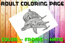 Dolphin Adult Coloring Page Sheet #1 (digital or shipped)