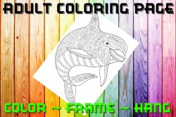 Dolphin Adult Coloring Page Sheet #2 (digital or shipped)