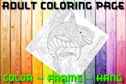 Dolphin Adult Coloring Page Sheet #3 (digital or shipped)
