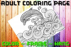 Dolphin Adult Coloring Page Sheet #4 (digital or shipped)